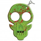 Defense Keychain w/ Seatbelt Cutter, Knife Sharpener, and Security Whistle - Green w/ Red Splatter