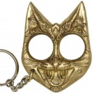 Brass Evil Cat Keychain