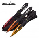 """6.5"""" Set of 3 Throwing Knives - Red, Orange, and Yellow"""