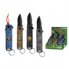 12 Pack Automatic Knives with Lighter- Assorted Colors