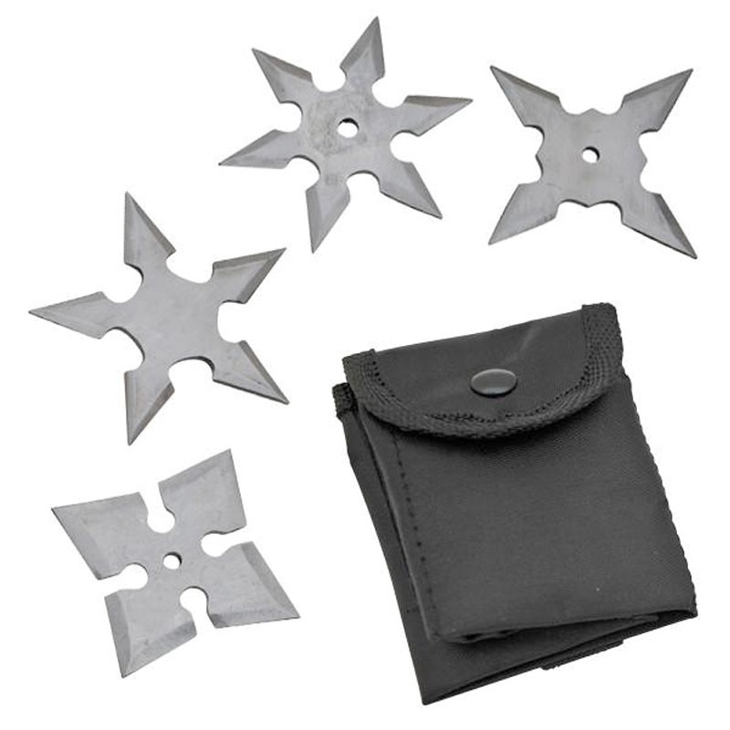Set of 4 Throwing Stars w/ Pouch - Silver