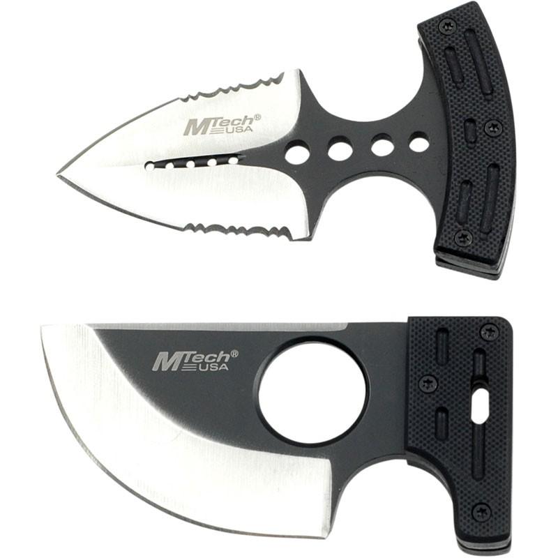 """3.7"""" Push Knife Combo Set - Black G10 Handle With Nylon Sheath"""