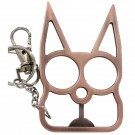 Solid Steel Cat Defense Keychain - Copper